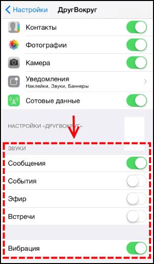 Уведомления на iOS ДругВокруг