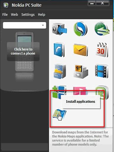 Установка программ в Nokia PC Suite
